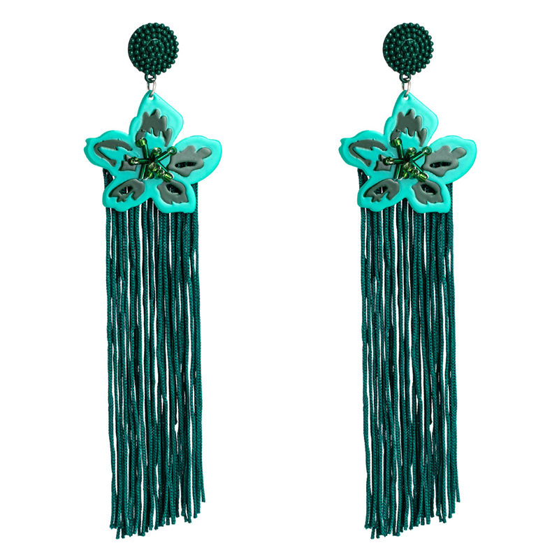 New fashion flower long tassel alloy pendant earrings vintage ethnic style bohemian statement party gift earrings women jewelry