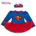 Полный Рукав Девочку Dress Супермен Новорожденных Девочек Платье Красный Кружева Рюшами Пачки Dress с Оголовьем Прекрасные Новорожденных Боди