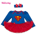Baby girl dress superman niñas infantiles vestido de manga completa ruffle tutu dress con diadema de encaje rojo precioso body de recién nacido