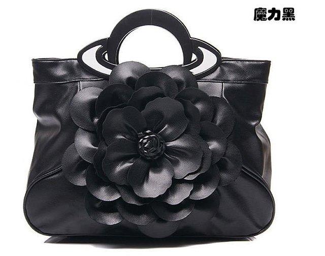 2012 Hot Korean Black Tote Bags Women Shoulder Handbags PU Flower Decor Loop Handle Valentine Gift for Her New Arrival