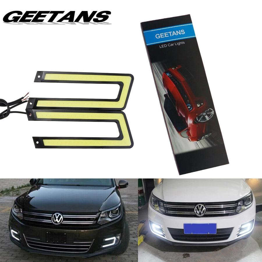 GEETANS 2pcs White ice blue COB Led Daytime Running Light DRL Headlight Fog Lamp DC12V Car Light Source U Shape 6000K