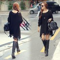 2014 Nuevas Mujeres Coreanas Del Invierno Tops Flecos Dobladillo Flojo Suéter Largo Vestido Que Hace Punto prendas de Vestir Exteriores 41