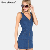 New Summer Tunic Dresses Blue Jean Chic Dresses High Quality Rockabilly Vintage Bodycon Backless Robe Femmel