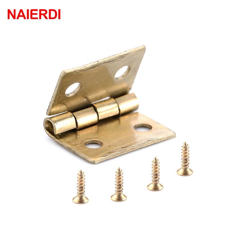 10PCS NAIERDI Antique Hinge Mini Bronze Gold Decoration Door Hinges For Wooden Cabinet Vintage Jewellery Box Furniture Hardware