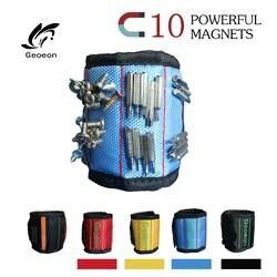 Geoeon полиэстер магнитный браслет 10 шт сильные магниты Портативный сумка для электроинструментов шуруповерты держатель Repair Tool ремень