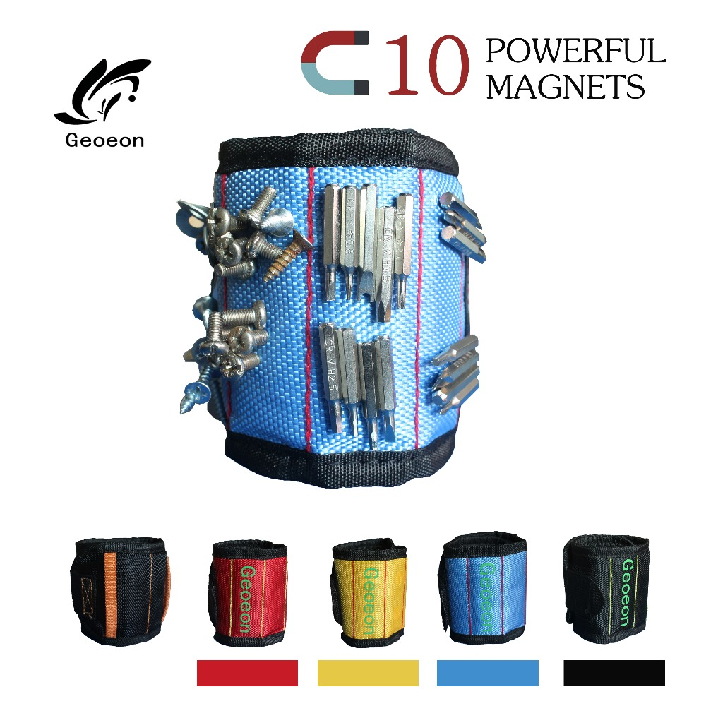 geoeon-polyester-magnetic-wristband-10pcs-strong-magnets-portable-bag-electrician-tool-bag-screws-drill-holder-repair-tool-belt