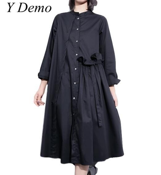 Y Demo 2018 High Street Female Long Sleeve Ruffle Belt Shirt Dress Elegant Casual Patchwork Womens O-neck Dress