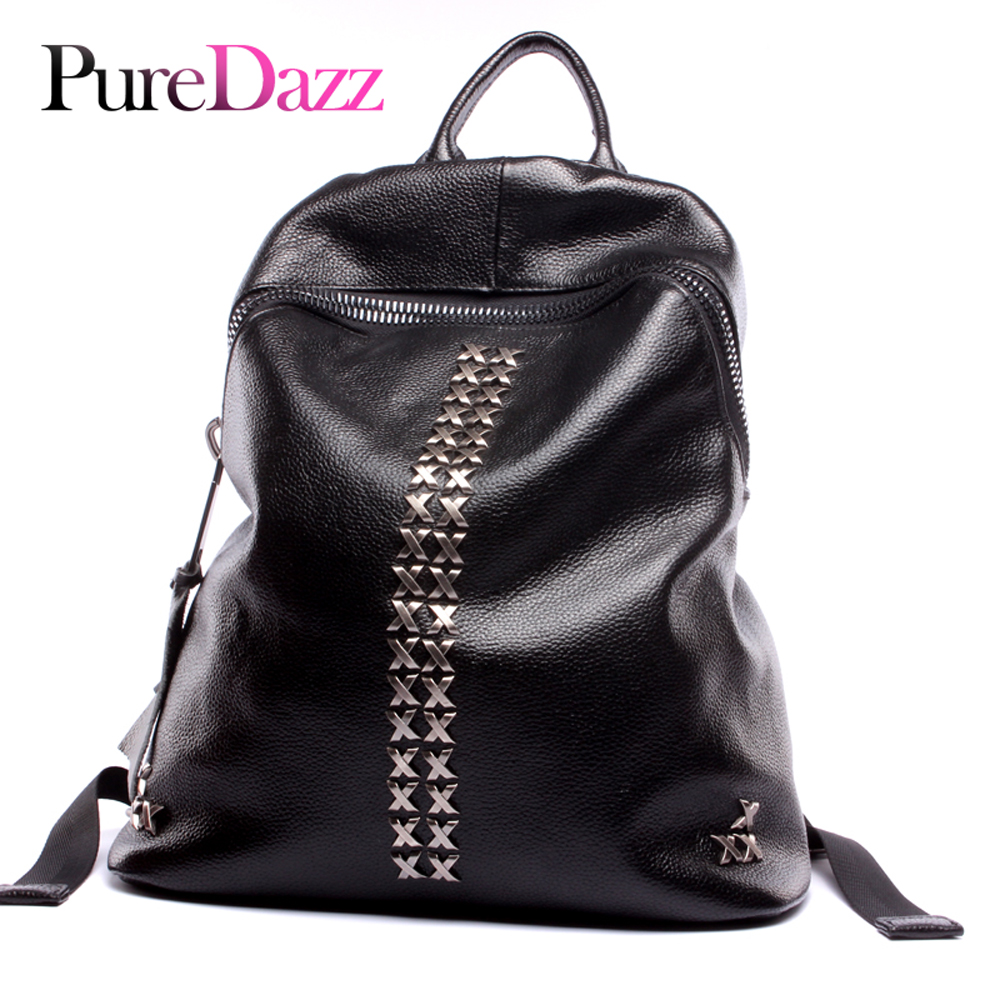 Fashion Brand Genuine Leather Women Backpack Newest Cow Leather Rivet Backpack Occident Cow Leather Lady BackpackFashion Brand Genuine Leather Women Backpack Newest Cow Leather Rivet Backpack Occident Cow Leather Lady Backpack