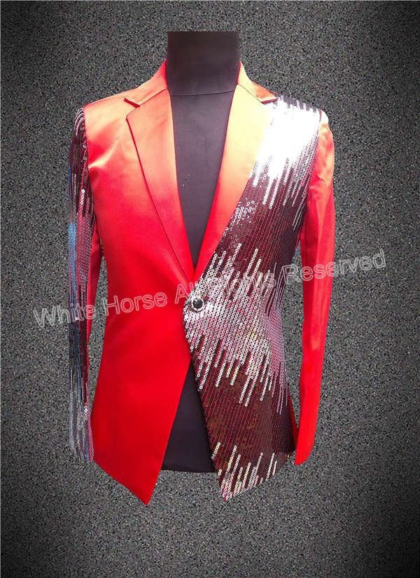 Blue and Red blazer Shining Jacket Made in China One Button Men Stage jacket Sequin Blue Men Stage wear