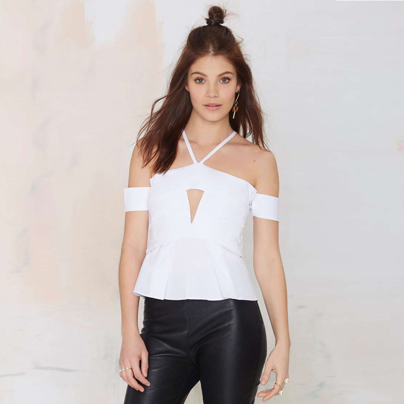 2017 New White Contrast Cut Out Front Top T-Shirt Tees Sexy Strapless Hanging Neck Chest Hollow Fold Hem T-Shirt Women