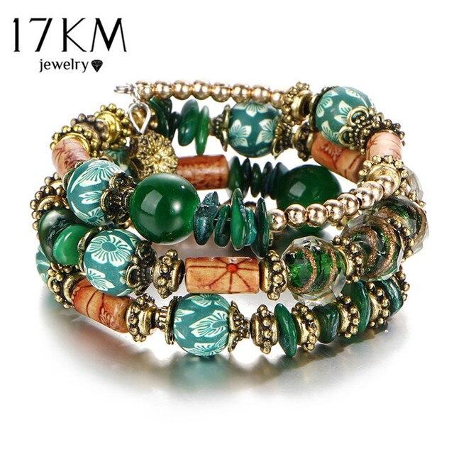 17KM Vintage Jewelry Bohemia Colorful Ball Bracelet & Bangles Long Ethnic Charm Bracelets for Women Tassel Pulseras Mujer Gift