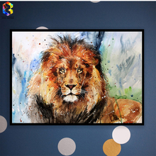 Watercolor Lion Canvas Art Print Poster, Wall Picture for Living Room Decoration, Home Decor Painting
