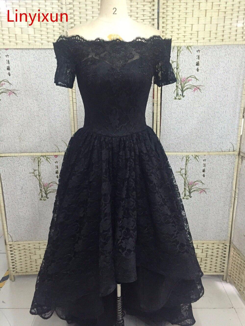 Linyixun Elegant Boat Neck Corset Ball Gown High Low Long Black Lace ...