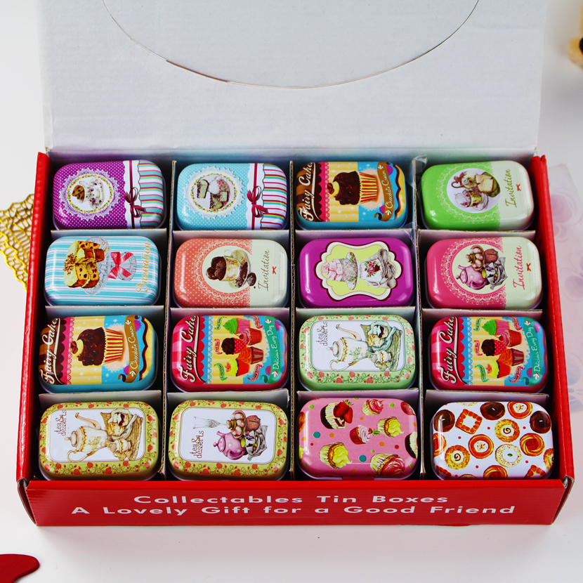 32 Pieces/set Mini Makeup Organizer Tin Box DIY Storage Box Square Lipstick Case Small Tea Box Candy Case American Style|diy storage box|diy storage|tin box - title=