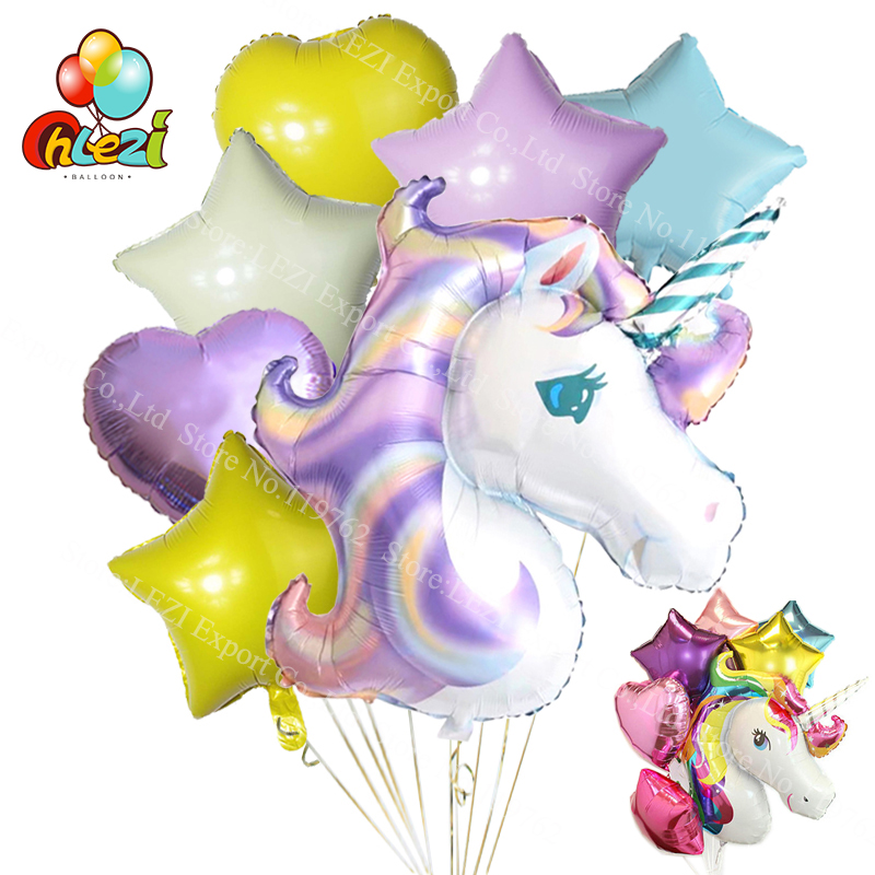 7pcs Anagram Rainbow Unicorn helium Foil Balloons 18 inch star and heart balls theme baby Birthday wedding party decor supplies