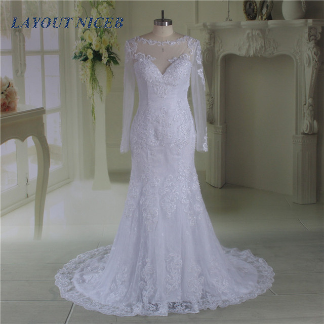 Vestidos de Novia Lace Mermaid Long Sleeve Wedding Dress See Through ...