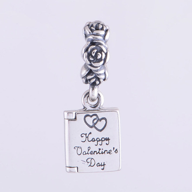 Fits Pandora Charms Bracelet Necklace Solid 925 Sterling Silver Happy  Valentineu0027s Day Book Charm Pendant DIY