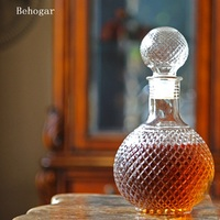 Behogar Home Bar 1000ML Round Ball Shape Whiskey Wine Beer Brandy Water Champagne Drinking Glass Bottle Decanter w/Cap Stopper