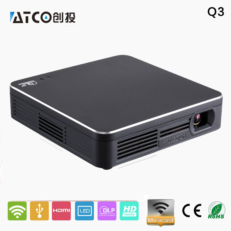 SANSUI Q3 200lumens Miracast/Airplay Wifi mini HD projector dlp home theater Portable projector Video Beamer with WIFI & HDMI