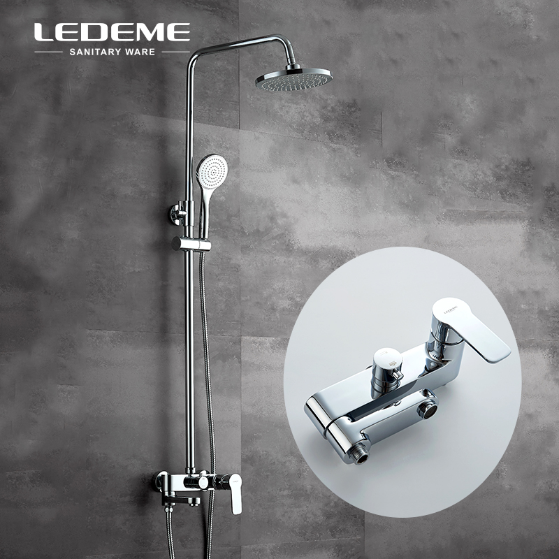 LEDEME Chrome Polished 3-Spray Mode Bath Shower Faucet Set System with Rainfall Shower Head ABS Handhead Bathtub Shower L2407 car dvd gps android 8 1 player 2din radio universal wifi gps navigation audio for skoda octavia fabia rapid yeti superb vw seat