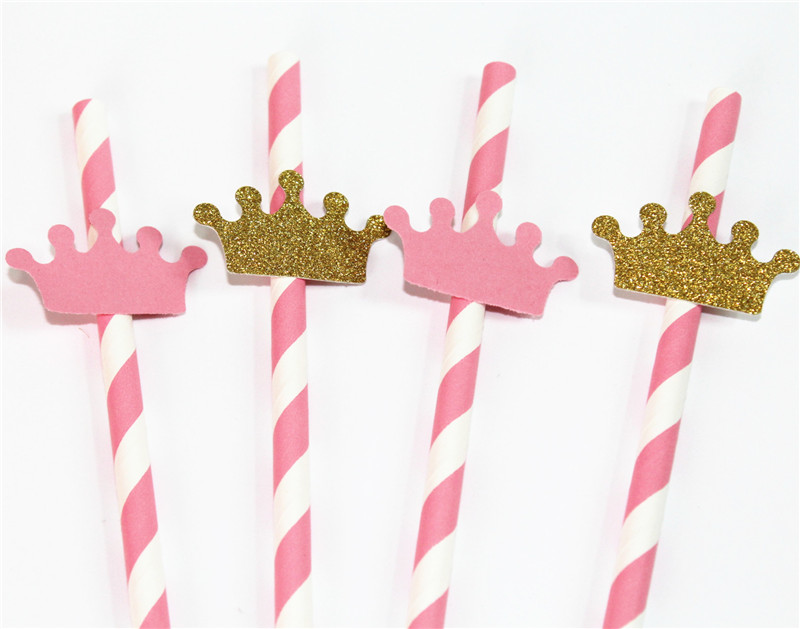 Detail Feedback Questions About Crowns Pink And Gold Straws Princess Party It Is A Girl Baby Shower1st First Birthday Baptism Communion Decoration
