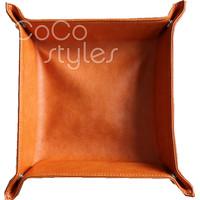 Cocostyles high class square colorful leather tray for business decoretion