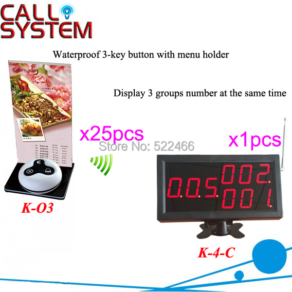 Restaurant Call Button System with 25pcs customer call button and LED display in 433.92MHz DHL shipping free new customer call button system for restaurant cafe hotel with 15 call button and 1 display shipping free