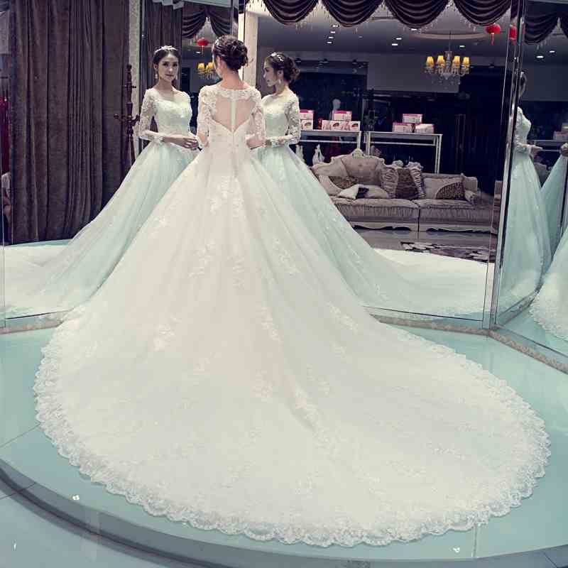 Vestido Noiva Robe De Mariage 2019 Famous design long sleeves A line royal train Vintage Boho Lace Wedding Dresses