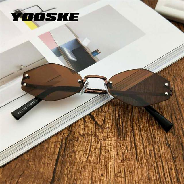 YOOSKE Fashion Small Sunglasses Women Cat Eye Sun Glasses Men 2018 Feshion Metal Frame Red Sunglasses Prismatic Vintage Shape