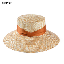 USPOP 2019 New summer sun hat for women female vintage flat top natural straw wide brim bow beach