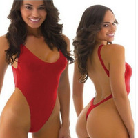 2016 Sexy Women Brazilian Thong One Piece Swimsuit Swimwear Backless Bodysuit Strap High Cut Push Up