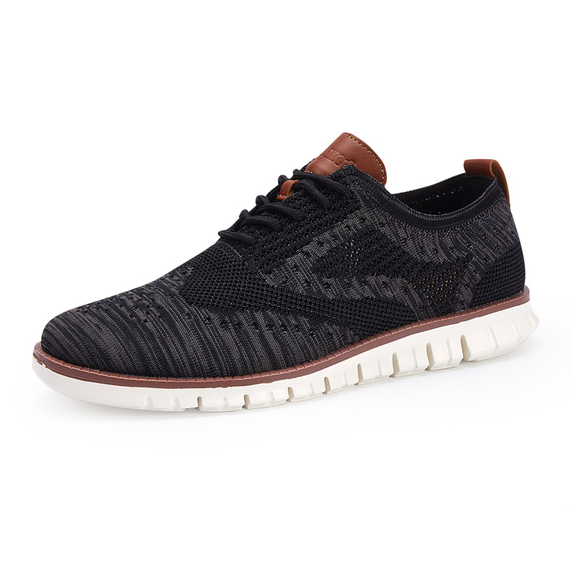 merkmak New Brogue men's Shoes Lace up lightweight British Dress  Footwear Fashion hollow breathable knitted mesh Flats Shoes 1