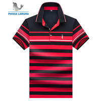 Men's Polo Shirts Business Men Brand Short Sleeve Embroidery Striped Turn down Collar Polo Shirt Mens High Quality Tops & Tees