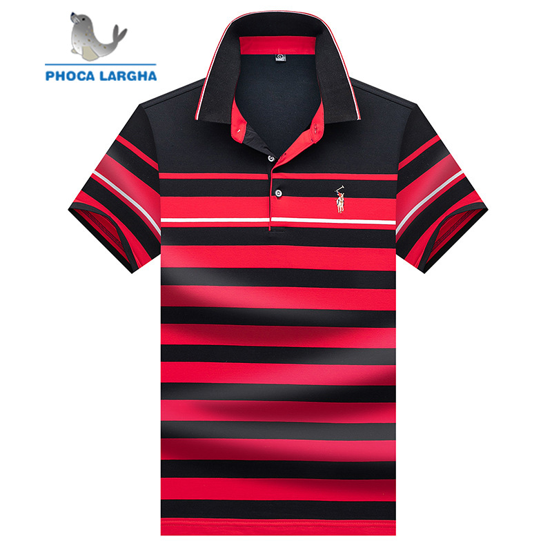 Men's Polo Shirts Business Men Brand Short Sleeve Embroidery Striped Turn-down Collar Polo Shirt Mens High Quality Tops & Tees
