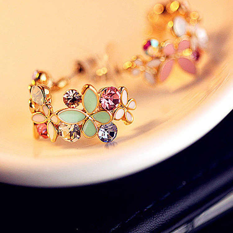 1 pcs Fashion Lovely Rhinestone Flower Butterfly Earring For Women