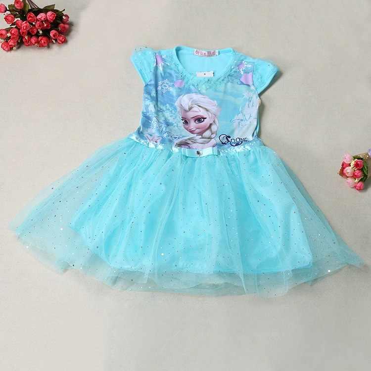 Gadis Gaun Musim Panas Anak Pakaian Putri Anna Elsa Gaun Snow Queen Cosplay Kostum Pesta Pernikahan Anak Pakaian Tahun Baru