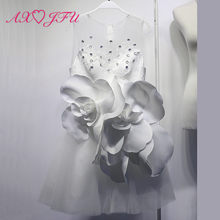AXJFU princess big flower short evening dress white rose flower evening Dress lace beading flower little white dress size 14(China)