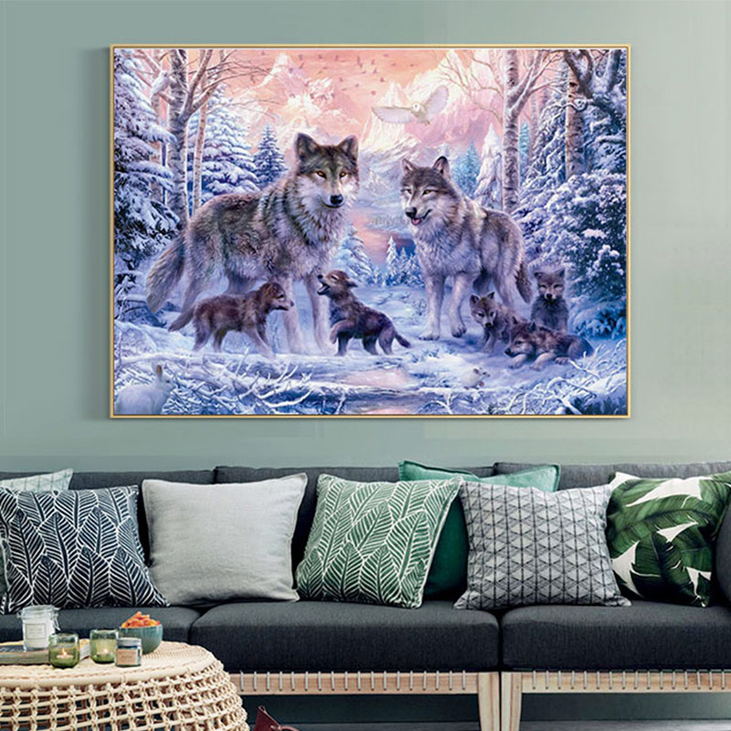Meian Cross Stitch Embroidery Kits 14CT Wofl Animal Snow Cotton Thread Painting DIY Needlework DMC New Year Home Decor VS-0037