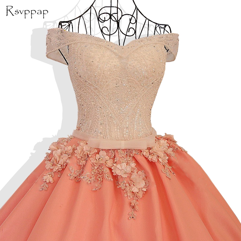Longue robe de soirée 2019 magnifique robe de bal perlée à la main fleurs Orange arabe femmes formelle robes de soirée robe de soirée