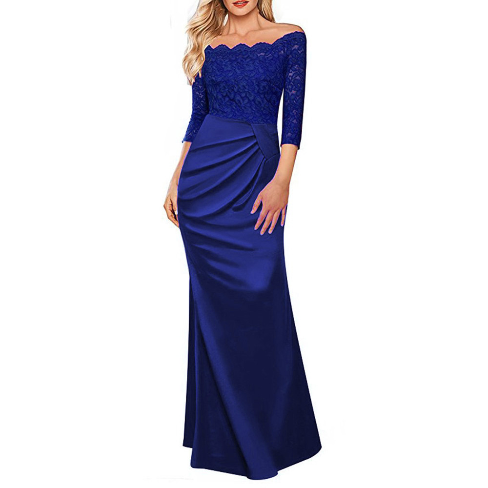 Feitong Female Dresses Womens Off Shoulder Fashion Lace vestido Formal Robe Long Maxi Sexy Evening Party Beauty Dress
