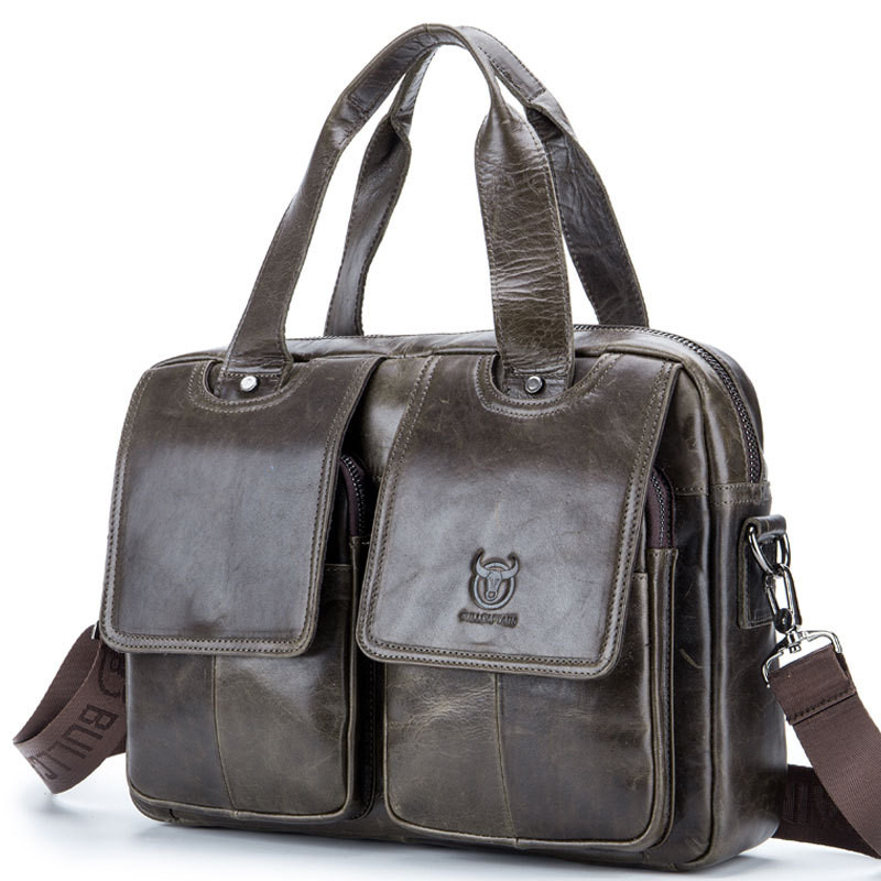 Luxury Pure Handmade Natural Genuine Leather Briefcase First Layer Oil Wax Cow Leather Men Handbag Vintage