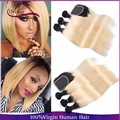 8А ombre бразильские волосы 1b 613 два тона прямые волосы 3 расслоений с закрытия бразильского виргинские волосы темные корни ombre человеческих волос