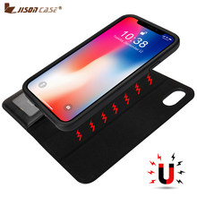 Jisoncase Luxus Fall Für iphone XS X Telefon Fall Leder Flip Wallet Magnetic Mit Karte Halter Buch funda für iphone x xs(China)