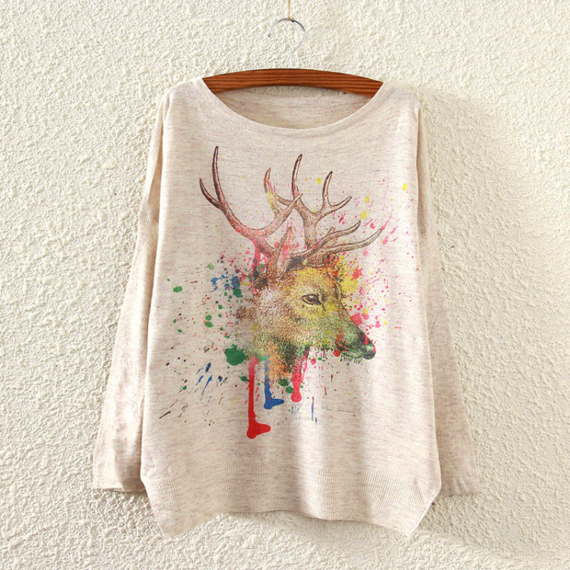 Christmas Autumn long batwing sleeve knit sweater with deer print patterns women sweaters and pullovers females pull femme