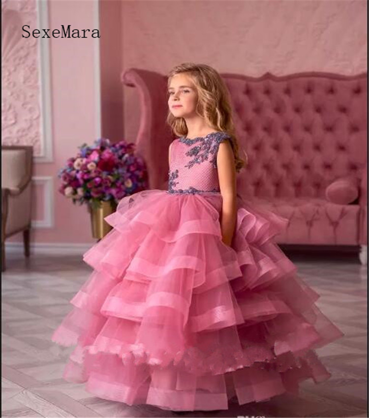 Beautiful Ball Gowns For Little Girls To attend Wedding Lace Up Tulle Lace Tiered Well-Designed Flower Girl Dress Pageant Gowns
