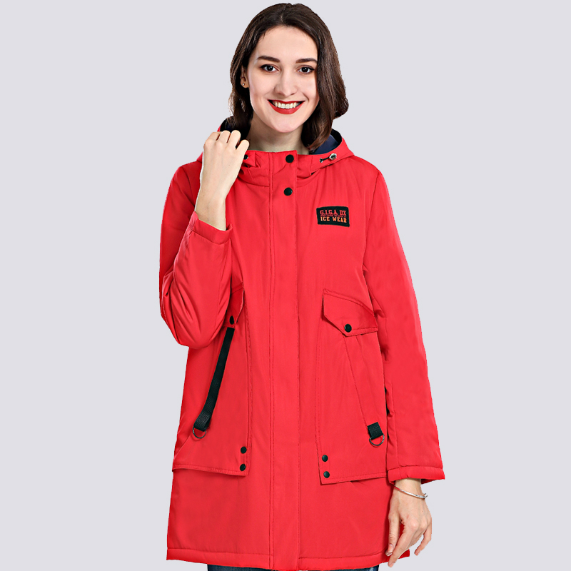 2019 Spring Autum New Women's Coat Windproof Thin Women   Parka   Long Plus Size Hooded Padded Warm Cotton Jackets Outwear Hot Sale