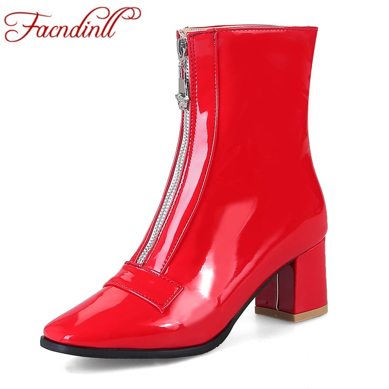 FACNDINLL women ankle boots patent leather sexy high heels front zip black red square toe shoes woman autumn winter riding boots enmayla fashion front zipper ankle boots women chucky heels square toe high heels shoes woman black yellow suede autumn boots