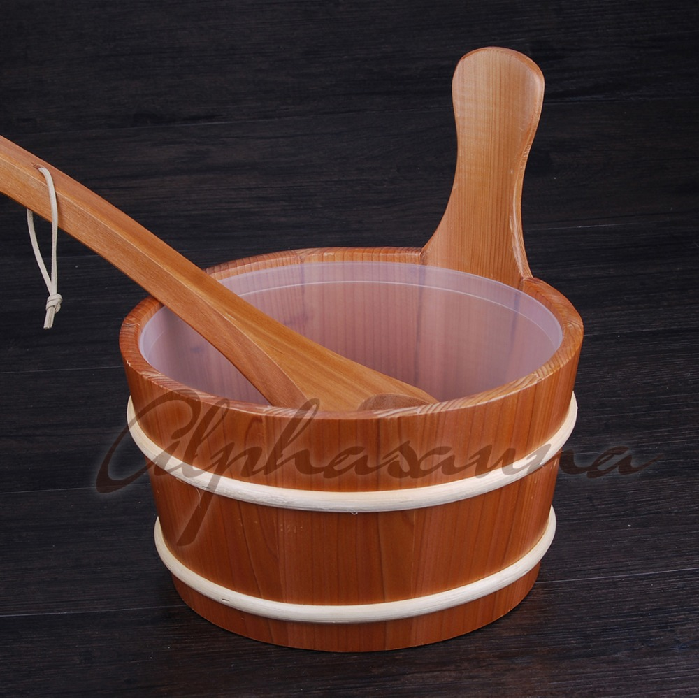 Free shipping  Nordic style 4L Red Cedar Bucket Pail and Ladle combined with Insert  Wholesaler, Sauna and steam accessoriesFree shipping  Nordic style 4L Red Cedar Bucket Pail and Ladle combined with Insert  Wholesaler, Sauna and steam accessories