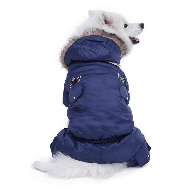 Hot Winter Warm Thick For Large Small Dog Pet Clothes Padded Hoodie Jumpsuit Pants Apparel XS-5XL Hot New Arrival  Free Shipping 5