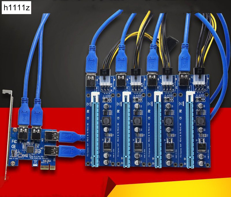 SATA 15pin à 6pin PCI express 16X slots Riser Carte PCI-E 1X à Externe 4 PCI-e slot Adaptateur PCIe Port carte multiplicateur